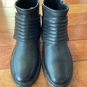 Burberry leather motorcycle boots.